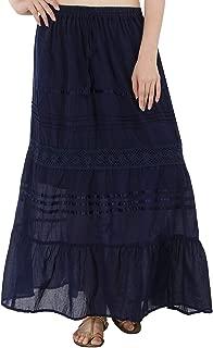 Indian Dresses Store SKAVIJ Women's Full Length Elastic Waisted Maxi Floral Embroidery Skirt Blue
