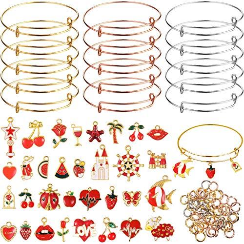 33 piezas mezcladas esmalte rojo tema encantos colgantes DIY charms, 15 piezas brazalete expandible ajustable pulsera de alambre 60 piezas anillo de salto abierto para manualidades joyería accesorios