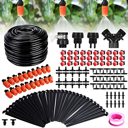 Drip Irrigation Kit, Fixget 100ft/30M Adjustable Garden Automatic Irrigation System Kits with DIY Plant Garden Hose Watering Kit Irrigation for Landscape, Flower Bed, Patio Plants