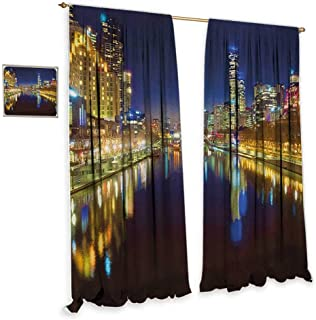 City Thermal Insulated Drapes for Kitchen/Bedroom Looking Down the Yarra River on a Beautiful Night in Melbourne Water Reflection Home Garden Bedroom Outdoor Indoor Wall Decorations 72