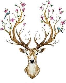 WandSticker4U®- XL Wandtattoo HIRSCH Kopf mit Blumen und V�