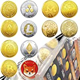 Krisler 12PC Bitcoin Coin Collector Physical Cryptocurrency Gift Set, Each Different Gold Coin Blockchain Cryptocurrency in Protective Collectable Gift,Bitcoin/Ethereum/Litecoin/so on (12Pack)