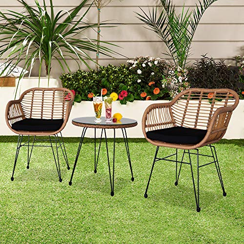 3 pcs Rattan Garden Furniture sets Sofa Dining Table Wicker Rattan Patio Conversation Set with Tempered Glass Table Flaxen Yellow