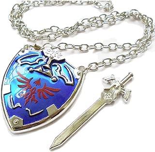 GK-O Legend of Zelda Hylian Shield Links Master Sword Necklace Cosplay Costume