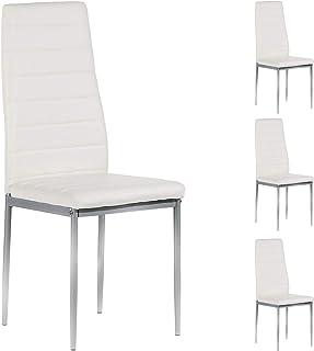 IDIMEX Lot de 4 chaises de Salle à Manger Nathalie piètement métallique Couleur Aluminium revêtement synthétique Blanc