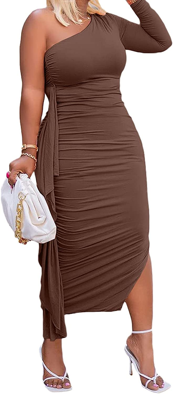 Women's Dresses Sexy Elegant Ruffle One Shoulder Long Sleeve Split Bodycon Maxi Party Dress