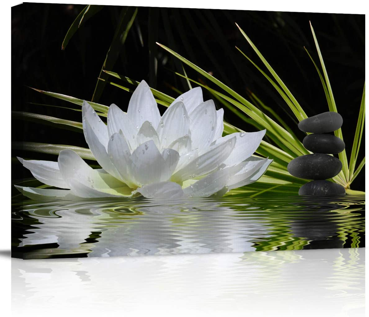 Canvas Wall Art - White Lotus and Black Zen Stones Picture - Modern Wall Decor Gallery Canvas Wraps Giclee Print Stretched and Framed Ready to Hang - 12