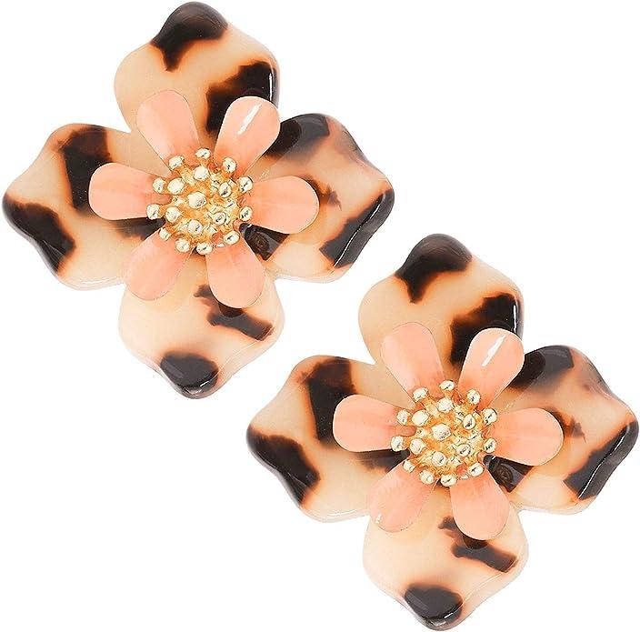 black Stud Earrings fabric earrings retro flower vintage