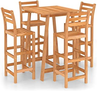 vidaXL Solid Acacia Wood Outdoor Bar Set 5 Piece Wooden Outdoor Patio Dinner Table and Chair Seating Seat Sitting Furnitur...