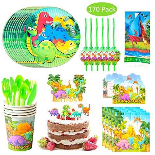 Amycute 170pcs 20 Invitados Juego de Dinosaurio Vajilla de Papel Diseño Dinosaurio Cubiertos de Verde Platos Vasos para Tema Forestal Baby Shower Fiesta de cumpleaños Infantil