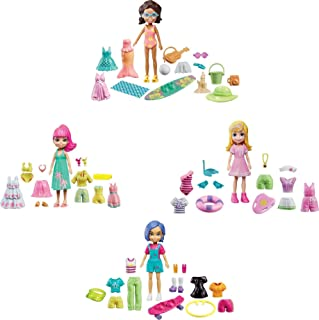 Polly Pocket Splashin' Style Fashion Pack, Four 3-in/7.62-cm Dolls: Polly, Shani, Margot and Bella, Each Doll Has 13 to 15...