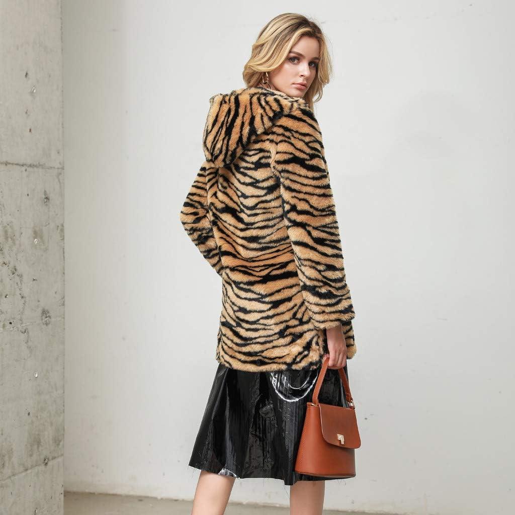 Coats for Women Jackets for Women Fashion Leopard Faux Fur Outwear Cardigan Loose Hooded Pocket Coat