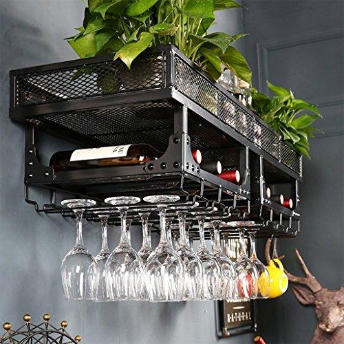 BLMDX Estante de Vino Estante de Almacenamiento montado en la Pared Metal rústico Colgante Vino Copa de champán Copas Estante para...