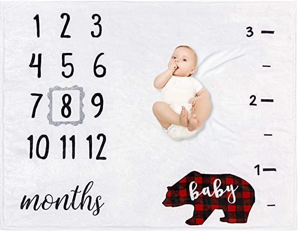 Baby Monthly Milestone Blanket Organic Plush Fleece Photography Background Prop For Boy Girl Newborn Baby Shower Gift Soft Bear Blanket With Frame 47 X40