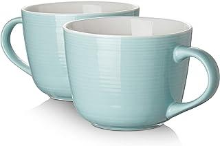 ست لیوان قهوه چینی DOWAN ، لیوان های بزرگ کاسه سوپ دهان جامبو و بزرگ 17 لیوان برای کاپوچینو ، قهوه ، چای ، غلات ، بستنی ، ست 2 ، فیروزه ای