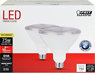 FEIT ELECTRIC PAR3875/10KLED/2 Feit 75W Equivalent PAR38 Warm White Non-Dimmable Reflector LED Light Bulb 2-Pack Soft 75 Watt,