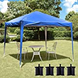 charaHOME Canopy Tent Pop Up Instant Tent Ez Up Canopy 10 x 10 Shade Folding Outdoor Shelter with 4Sandbags Tent for Parties Backyard Patio Wedding Commercial Activity BBQ (Blue)