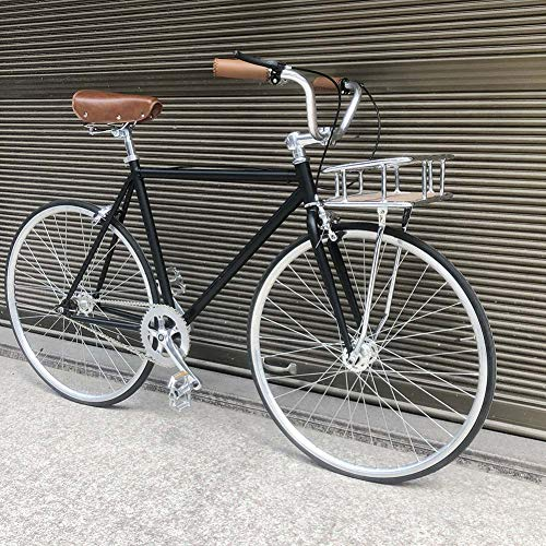 Wxnnx Single Speed 700C Commuter City Road Bike - High-carbon steel frame Urban Fixed Gear Bicycle Retro Vintage With Bicycles Basket,female 48cm