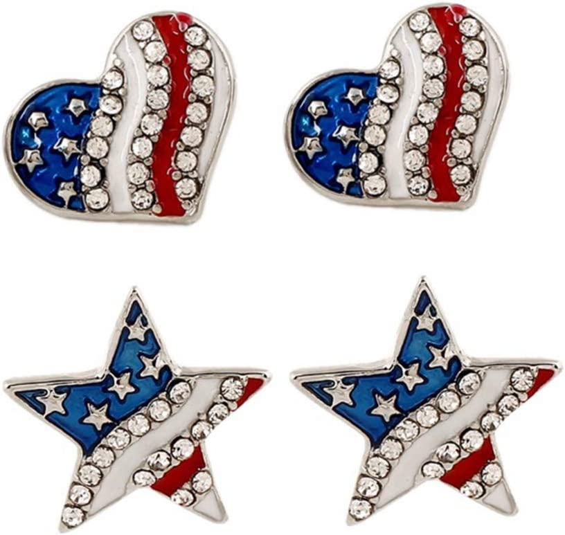 BESTOYARD 2 Pairs Independence Day Eardrop Fashion Girls Earring Creative American Flag Ear Jewelry Elegant Women Ear Ornament (Star, Heart, 2 Pairs/Pack) for Independence Day Party Supplies