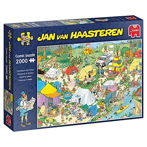 Jumbo Puzzles 19087 Jan Van Haasteren-Camping im Wald-2000 Teile Puzzlespiel, Mehrfarben