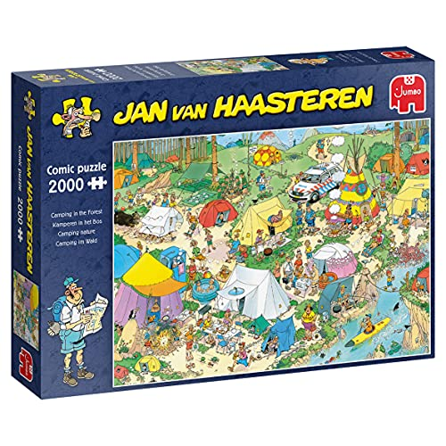 Jumbo- Jan Van Haasteren, Camping in The Forest, 2000 Piece Jigsaw Puzzle Rompecabezas, Multicolor (19087)