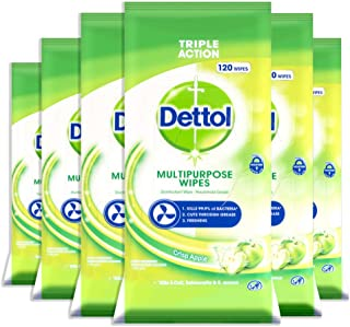 Dettol Multi-Purpose Antibacterial Disinfectant Surface Cleaning Wipes Crisp Apple 720 (6 x 120s), 720 count, Pack of 6