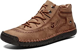 Mens Leather Casual Lace up Driving Walking Ankle Boots...