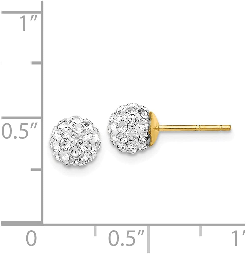 14k Yellow Gold Post Stud 6mm Crystal Ball Earrings Button Fine Jewelry For Women Gifts For Her