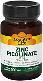 Country Life Zinc Picolinate 25 mg - 100 Tablets - Supports Prostate and Immune Health - Superior Absorption