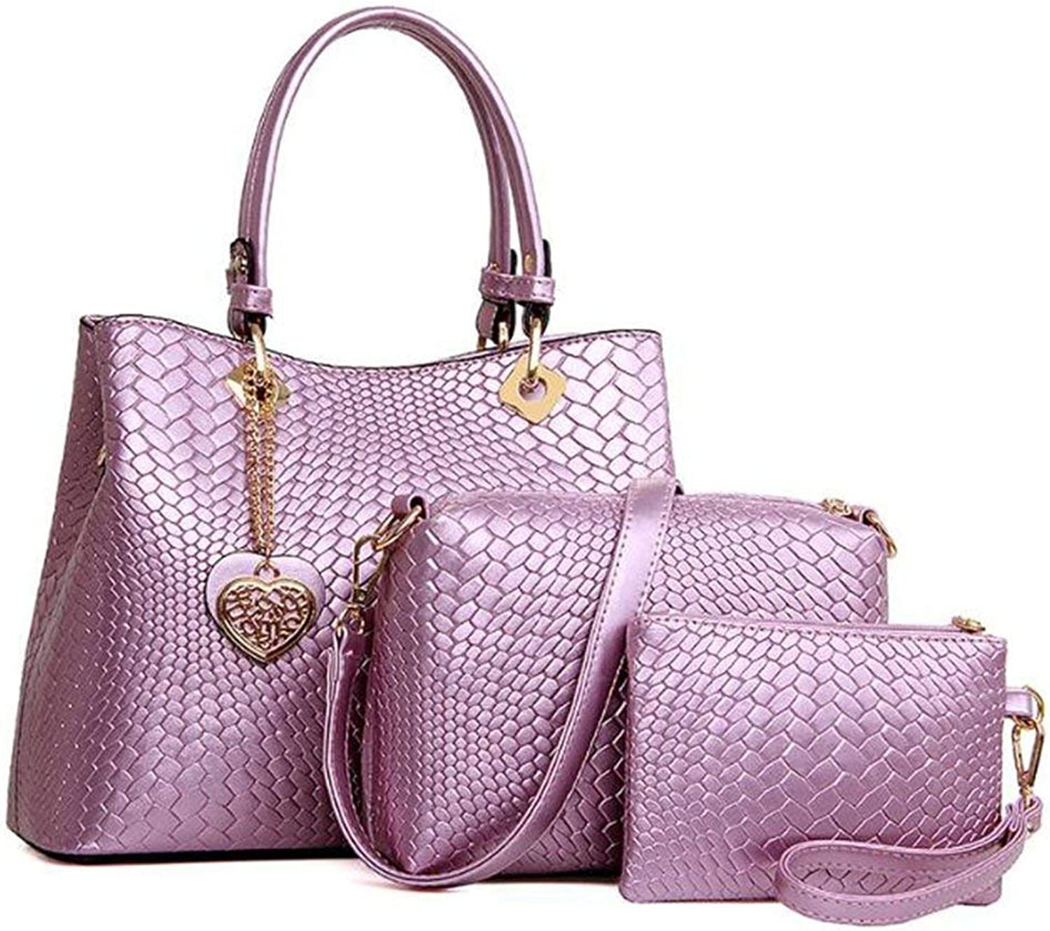 66da52803 Ladies Handbag Women Fashion Leather Handbag,New Three-Piece Suit Handbag  Diagonal Package Stone Pattern Mother Bag (color Purple) Clutch PU ...