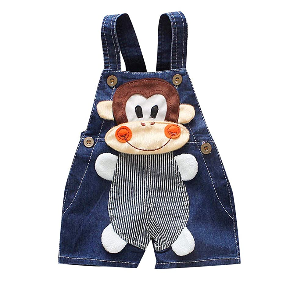 Toddler Kids Baby Girls Boy Rompers One Piece Denim Short Overalls 3D Cartoon Bear Jumpsuit Bib Pants 0-3Y