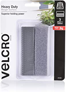 VELCRO Brand - Heavy Duty Hook & Loop Fasteners | Superior Holding Power on Rough Surface | 25mm x 100mm Strips | Pack of ...