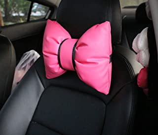 seemehappy Charming Bowknot Leather Neck Pillow Headrest Cushion for Car (A Pair)