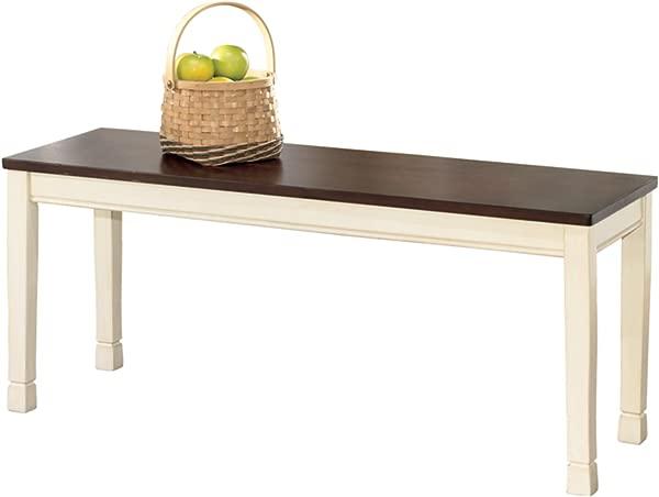 Ashley Furniture Signature Design Whitesburg Large Dining Bench Rectangular Vintage Casual Brown Cottage White