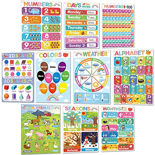Educational Learning Posters Toddler and Preschooler Posters Classroom Posters and Decorations Teaching Words Poster Charts for Preschool, Kindergarten, Nursery, Homeschool,Playroom Decor, 10 Pieces