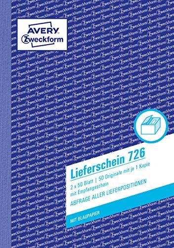 AVERY Zweckform 726 Lieferschein mit Empfangsschein (A5, 2x50 Blatt, mit 1 Blatt Blaupapier und farbigem Durchschlag, zur Abfrage aller Lieferpositionen) weiß/rosa