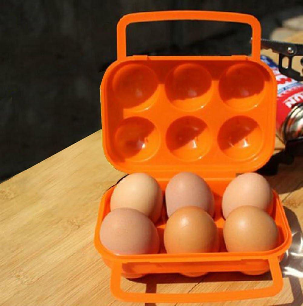 itemer 6/Raster Eier Aufbewahrungsbox mit Tragegriff tragbar Kunststoff Eier Container Outdoor Camping Carrier Orange