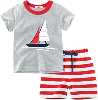 Chennie Completi Estivi da 1 a 4 Anni T-Shirt Bambino con Maniche Corte e Cappuccio