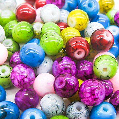 TOAOB 100 Stück 6mm Crackle Glasperlen Runde Mehrfarbig für Schmuckherstellung