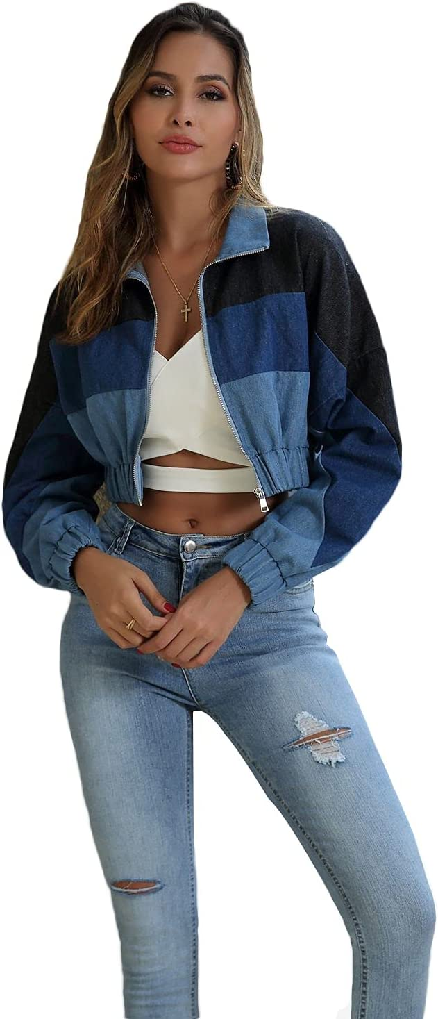 Womens Clothing Women Personalized Color Matching Short Denim Jacket Womens Clothing (Color : Blue-1, Size : L)