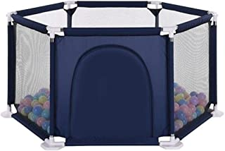 Foldable Safe Play Yard Play Pen with Games  amp  Gates for Infants with Zipper Door and 200 Ocean Balls for Indoors  Red and Blue Hexagon