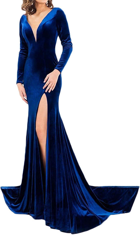 LL Bridal Velvet Mermaid Prom Dresses Long Sleeve V Neck Open Back High Slit Side Evening Formal Party Gowns