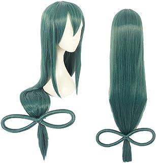 شعر مستعار طويل مفرود من أليغي باللون الأخضر يتحمل درجات الحرارة العالية - شعر مستعار اصطناعي طويل 100 سم