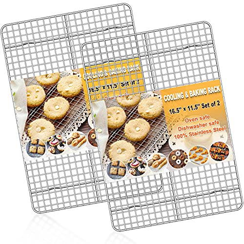 Baking Rack Cooking Rack Set of 2-''16.5''x''11.5''-Stainless Steel Wire Baking Cooking Roasting Grilling Rack, Fits Half Sheet Cookie Pans, Commercial Quality, Oven & Dishwasher Safe