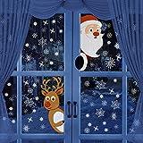BININBOX クリスマスウィンドウステッカー ホリデークリスマスデカール装飾 サンタクロース トナカイ 雪片デカール 新年クリスマスパーティーデコレーションウィンドウステッカー(サンタクロース)