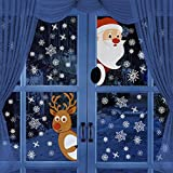 BININBOXクリスマスウィンドウステッカー ホリデークリスマスデカール装飾 サンタクロース トナカイ 雪の結晶 デカール 新年クリスマスパーティー装飾 ウィンドウステッカー