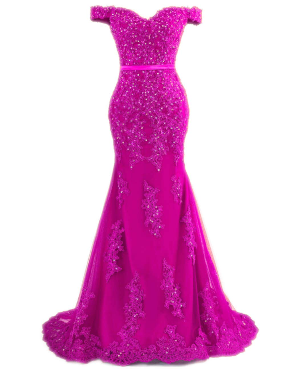 Available at Amazon: MariRobe Women's Beaded Lace Appliques Evening Dress Mermaid Party Dress Off The Shoulder Evening Gown