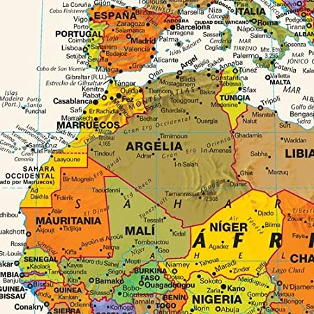 Contemporary World Wall Map in Spanish 50 x 28.5 Paper