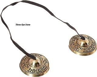Three Eye Store Om Nama Shiva Mantra Engraved Tingsha Cymbals for Meditation,Pray,Yoga,Sound Healing, 2.25