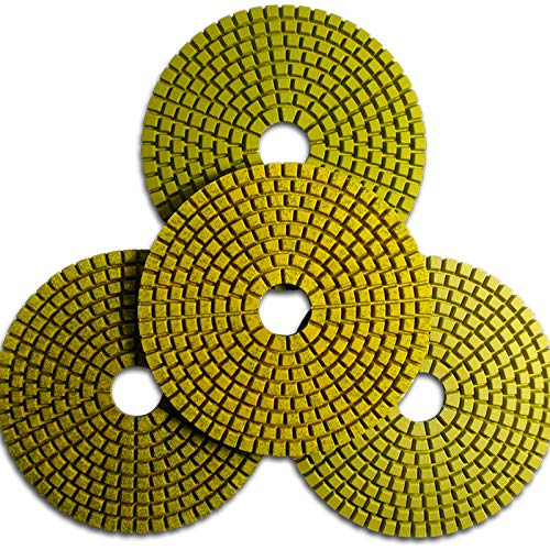 Originele set van 4 step-polijstschijven/slijppads in 4 stappen voor het perfect resultaat voor graniet, engineered steen, marmer, diameter 100 mm, schuurpads, perfect voor de reparatie van natuurstenen trappen en werkbladen en vensterbanken.